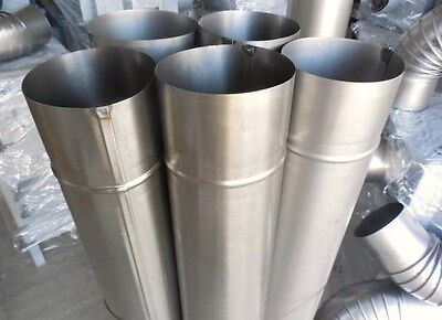 Set Of 5 Inch Steel Flue Pipes (5 Pipes + 3 Elbows) 125 Mm Diameter