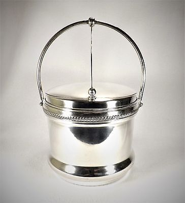 Vintage Sheffield Silverplate Hinged Ice Bucket Insulated w/ Pyrex Rogers Retro