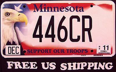 "MINNESOTA "" SUPPORT OUR TROOPS - EAGLE - FLAG "" Graphic License Plate FREE US SH"