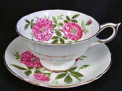 Paragon Deep Pink Floral White Ground Tea Cup And Saucer