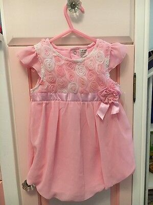 Sunshine Baby Pink Bubble Romper Dress Size 24 Months NWT