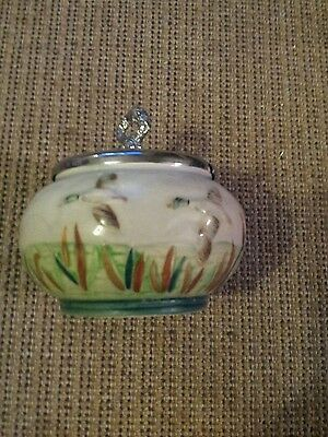 """Shorter and Son pottery preserve jar with original spoon- """"ducks in flight""""."""