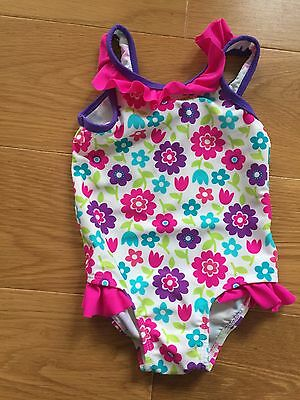 Mothercare Girl's Swimsuit - 9-12 Months - White With Flowers
