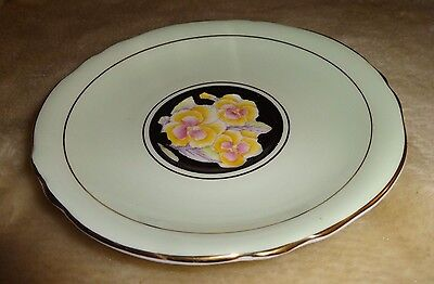 Paragon DW Soft Green & Black Saucer ONLY hand painted with Pink/Yellow Floral