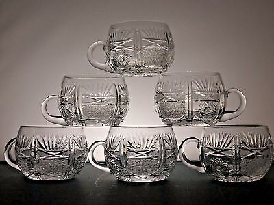 Abp,antique Cut Glass Crystal Handle Cup/punch Cups/mugs Set Of 6