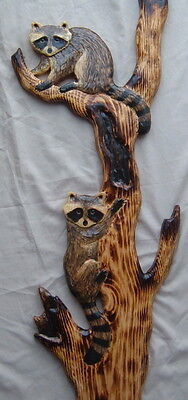 RACCOON CUBS in TREE  Wall Art Chainsaw Log Cabin Decor Wood Carving Sculpture