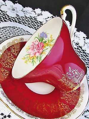 Royal Stafford Gold Chestnuts Carnation Red Corset Tea Cup And Saucer