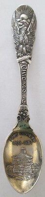 Fort Dearborn Eagle Top Chicago 1808 1857 Gold Wash Sterling Spoon Minty!!!