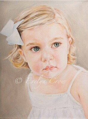 """COMMISSION Child Portrait from photo HEAD Oil Painting 12x16"""" by Evelyn"""