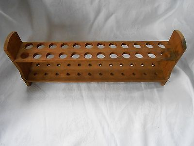 Antique Wood Test Tube Rack for 24 Tubes Could be used for Pipes Pipe