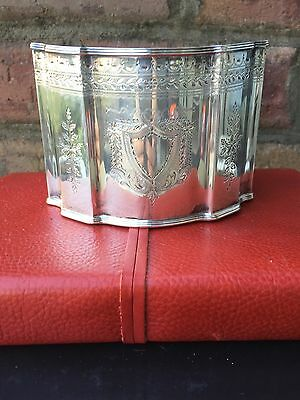 Antique English Sterling Silver Sugar Box Caddy 320 Grams Sterling Chippendale