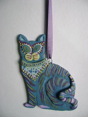 Whimsical Handmade Crazy Cat Ornament