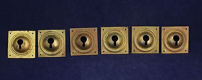 Set of 6 Antique Brass Furniture Key Hole Covers