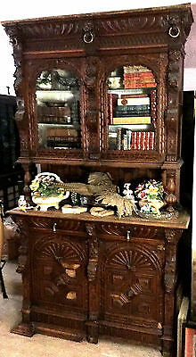 """Large Heavily Hand Carved Antique Breakfront Sideboard 8'x56""""x20"""" L.A,Calif. p/u"""