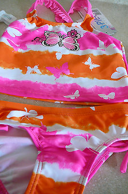 Girls 3 Piece Zeroxposur Swimsuit Pink /orange Butterfly /goggles Size 4