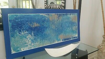Original Abstract Painting Wall Hanging Art, Canvas, Blue White Sea Green