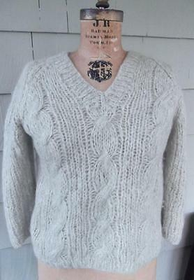 Vtg 60s green white braided wool mohair Mary Lewis Italy loose knit sweater med