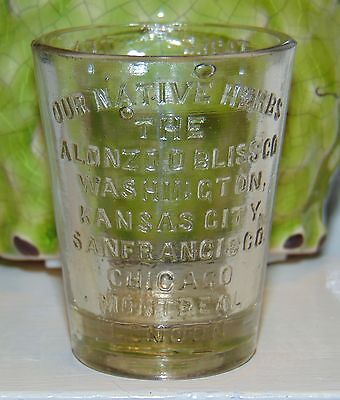 RARE ANTIQUE Glass DOSE CUP Medicine ALONZO BLISS Our Native Herbs SHOT GLASS