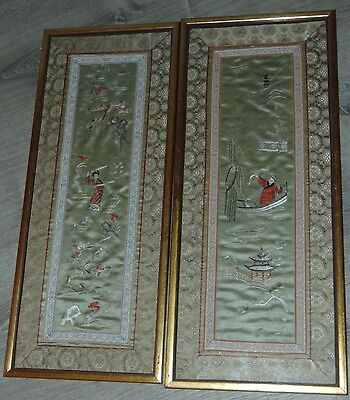 LOVELY FRAMED Silk Embroidered ANTIQUE CHINESE Sleeve Cuffs WARRIORS Panels