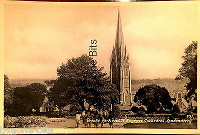 Brooke Park and St Eugene's Cathedral Londonderry Postcard Derry Ireland.