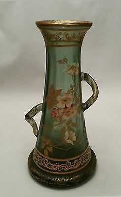 Gorgeous Mont Joye CAMEO Glass Vase Hand Painted Polychrome Enamel Flowers