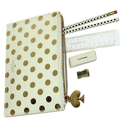 Kate Spade New York Pencil Pouch Gold Dots Eraser Sharpener Ruler & Pencils NWT
