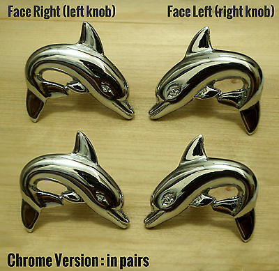 2 PAIR Right & Left DOLPHIN CHROME Cabinet Door Solid Brass KNOB Drawer Pulls