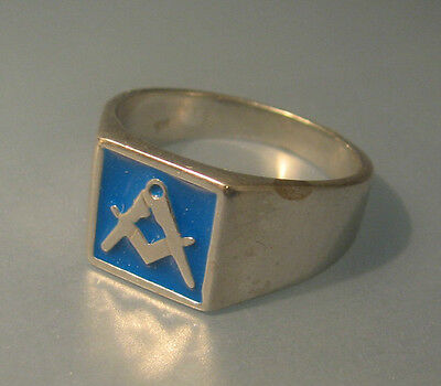 Silver and blue enamel masonic ring ring size X