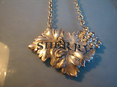 Pair of white metal pierced leaf decanter or bottle ticket labels HOCK & SHERRY
