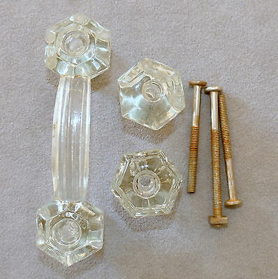 Hardware Drawer Pulls Knobs Cabinet Antique Glass Handle w/ Screws Lot o 3