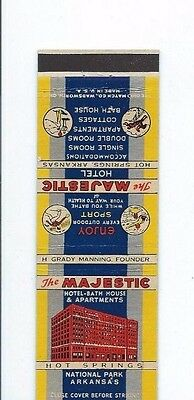 MATCHBOOK COVER The Majestic Hotel Hot Springs Arkansas