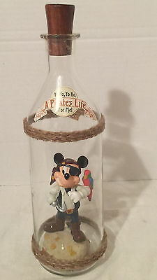 "Disney Collectible ""Pirate Mickey"" Figurine in a Bottle  New"