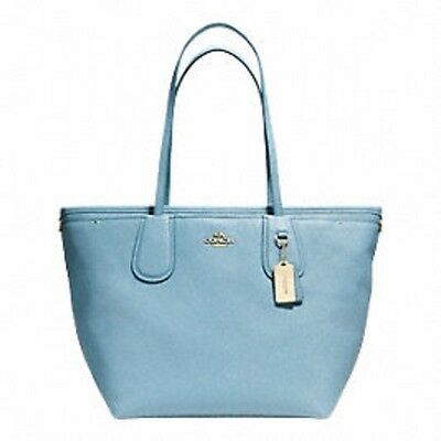 Coach Taxi Diaper Baby Bag Tote Crossgrain Leather Multifunction 34522 Blue-Nwt