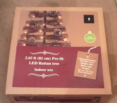 2.65ft (81cm) Pre-lit LED Rattan ChristmasTree Brand New In Box