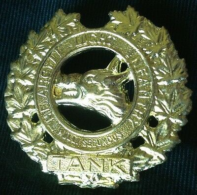 ARGYLL LIGHT INFANTRY of Canada TANK WWII cap badge 1941 WW2 Canadian hat brass