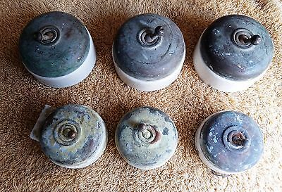 Lot Of 6 Vintage British Made Brass Porcelain Ceramic Electric Vitreous Switch