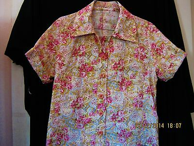 Vintage 70S Home Made Pink Floral Shabby Chic Cotton Crop Shirt. Sz 8-10.