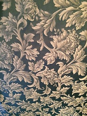 Ethan Allen DAMASK 20 YDS TUSCANY EMBROIDERED UPHOLSTERY FABRIC Green Beige