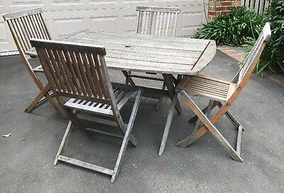 Solid Timber Outdoor Setting & Four Fold up Chairs