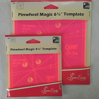 """Pinwheel Magic Template for Patchwork ~ 4½' or 6½"""" Sizes"""