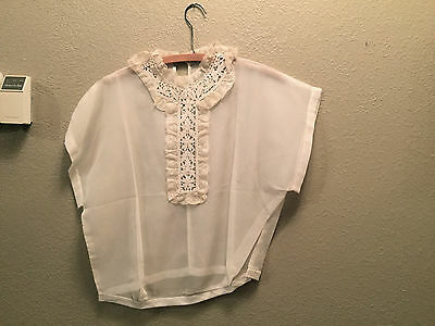 Off White Lace Voile Vintage Sheer Blouse Shirt Womens Short Sleeve Top