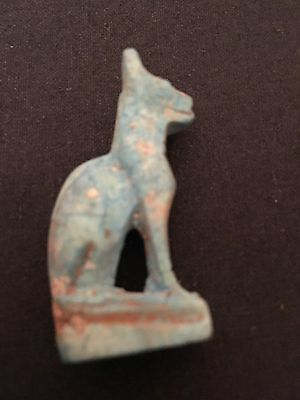 ANCIENT EGYPTIAN FAIENCE AMULET CAT 30th Dyn 380 BC