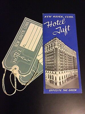 Hotel Taft New Haven CT Vintage Brochure and Luggage Tags 1940's