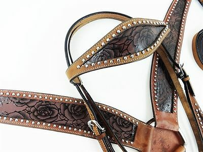Western Leather Roses Silver Headstall Horse Bridle And Breastplate. Cob