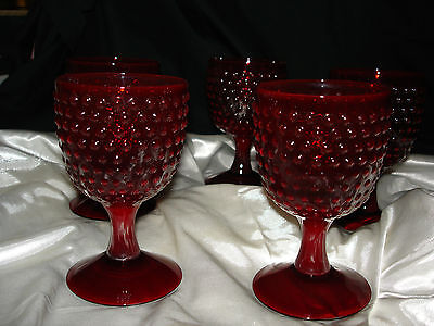 5 - Ruby Red Hobnail Patttern Water Goblets