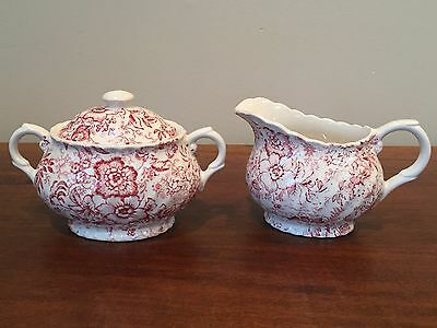James Kent Red OLD FOLEY 18TH CENTURY CHINTZ Creamer & Lidded Sugar ~ England