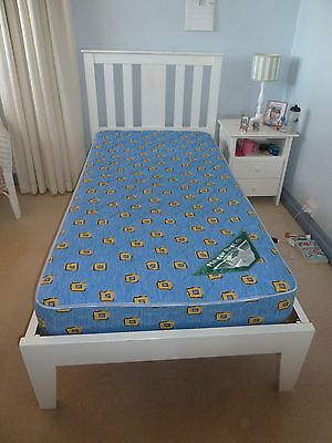 Single White Timber Bed and Mattress