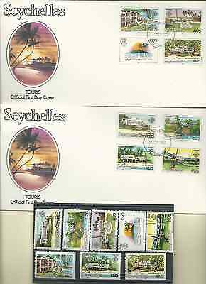 SEYCHELLES 1982 OFFICIAL 2 FDC's & MNH SET SC 495-502 TOURISM  FREE SHIPPING