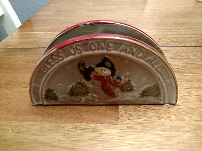 'bless Us One And All' Heavy Stoneware Napkin Holder Christmas Snowman