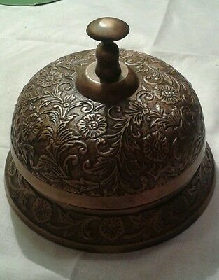 """Large Brass Hotel Counter Desk Bell 5 1/2""""across The Base And 4"""" Tall"""